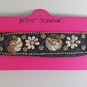 Betsey Johnson Floral Embellished Headwrap &Choker